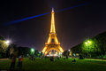 The eiffel tower at night in paris lighting of on september is one of major tourist attractions of france Royalty Free Stock Photo