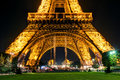 The eiffel tower at night in paris lighting of on september is one of major tourist attractions of france Royalty Free Stock Photography