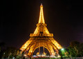 The eiffel tower at night in paris lighting of on september is one of major tourist attractions of france Royalty Free Stock Photos
