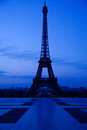 Eiffel tower night scene paris silhouette in at seen from trocadero Royalty Free Stock Image