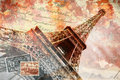 Eiffel tower paris abstract digital art painting printable in very high resolution on canvas Royalty Free Stock Photography
