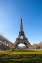 Eiffel tower in paris on a clear spring day in april with a deep blue sky Royalty Free Stock Images