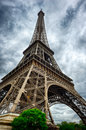 Eiffel tower in paris at cloudy summer day Royalty Free Stock Photography