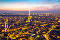 Eiffel Tower Paris Dusk Royalty Free Stock Photo