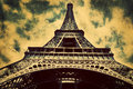 Eiffel Tower in Paris, Fance in retro style. Royalty Free Stock Photo