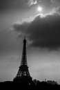 The eiffel tower in paris france black and white Royalty Free Stock Photography