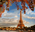 Eiffel tower in paris france with boats on seine Royalty Free Stock Photos
