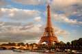 Eiffel tower in paris france with boats on seine Stock Image