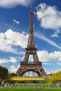 Eiffel tower in paris france with city bus Stock Photo