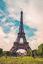 The Eiffel Tower in Paris, France. Eiffel Tower, symbol of Paris. Eiffel Tower in spring time. Royalty Free Stock Photo