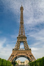 Eiffel tower in paris france front view on Stock Photo