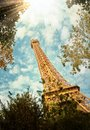 Eiffel Tower in Paris France Vertical Shoot. Royalty Free Stock Photo