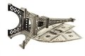 Eiffel Tower in Paris and money Royalty Free Stock Images