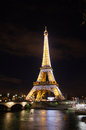 Eiffel tower in paris night scene with lights on Royalty Free Stock Images