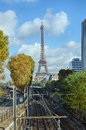 Eiffel tower in paris and the railway on a sunny day autumn Royalty Free Stock Photos