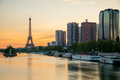Eiffel tower and Paris skyline with skyscraper along Seine river Royalty Free Stock Photo