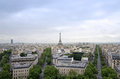 Eiffel Tower with Paris skyline view from the Arc de Triomphe in Royalty Free Stock Photo