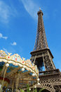 Eiffel tower in paris the tour against a blue summer sky france it was built between and for the world s fair expo Royalty Free Stock Photos