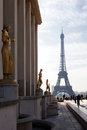 The eiffel tower in paris view of morning france Stock Images