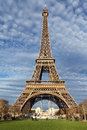Eiffel Tower in Paris on the winter with the white clouds Royalty Free Stock Photography