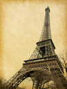 Eiffel tower photo retro style paper texture Stock Photography