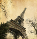 Eiffel tower photo retro style paper texture Stock Image