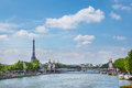 The eiffel tower and pont alexandre iii view on in paris france Stock Photos