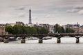 Eiffel Tower and Pont des Arts Bridge, Paris