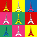 Eiffel tower pop art wallpaper with decoration Royalty Free Stock Photography