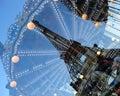 Eiffel tower reflection france paris Stock Photos