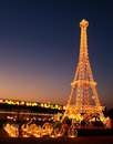 Eiffel tower replica a of in global village dubai Stock Photography