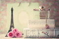 Eiffel tower with roses and perfume bottle sculpture pink box Royalty Free Stock Photo