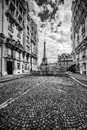 Eiffel Tower seen from the street in Paris, France. Black and white Royalty Free Stock Photo