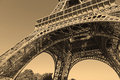 Eiffel Tower with sepia filter, Paris France Royalty Free Stock Photo