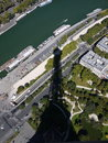 Eiffel tower shadow view from the top of the of the and seine river Royalty Free Stock Photo