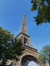 Eiffel tower shot against blue sky Royalty Free Stock Photography