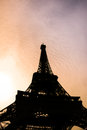 Eiffel tower silhouette in paris france of during sunset Stock Photos