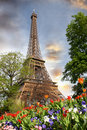 Eiffel Tower in spring time, Paris, France Royalty Free Stock Photos