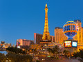 Eiffel tower on the strip in las vegas may at night may this is biggest copy of and its height is meters Royalty Free Stock Images