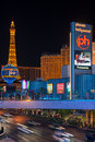 Eiffel tower on the strip in night las vegas may replica of at may this is biggest copy of and its height is Stock Photography