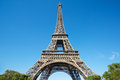 Eiffel tower, sunny summer day with blue sky in Paris Royalty Free Stock Photo