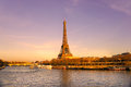 Eiffel tower at sunrise, Paris. Stock Photo