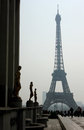 Eiffel tower from the trocadéro as can be seen view point in in a hazy spring day taken at palais de chaillot Royalty Free Stock Image