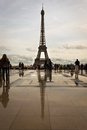 Eiffel tower from trocadero view of the and its reflection the Stock Photo