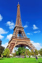 Eiffel tower view from the champs de mars paris france Royalty Free Stock Images
