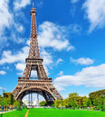 Eiffel tower view from the champs de mars paris france Stock Photo
