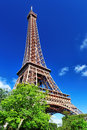 Eiffel tower view from the champs de mars paris france Stock Photos