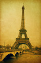 Eiffel tower view seine river paris france photo retro style paper texture Stock Photos