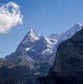 Eiger and mönch summits view Stock Photos