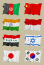 Eight Asian flags Stock Photos